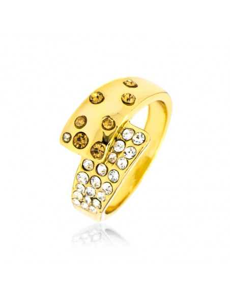 Ring with crystals gold LIBY