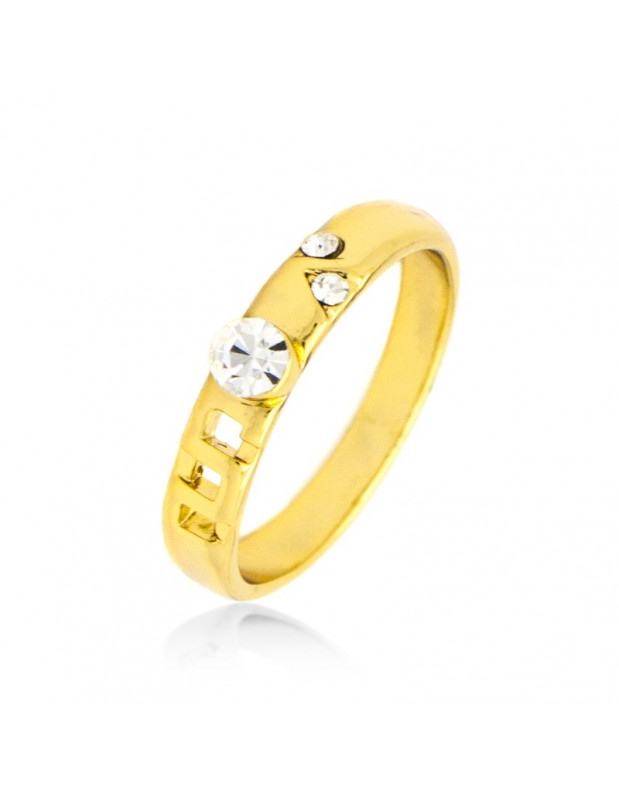 Ring with crystals gold ALOHA