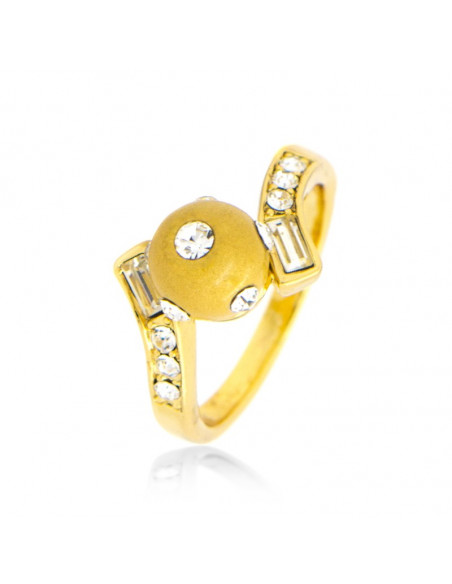 Ring with crystals gold BULLY
