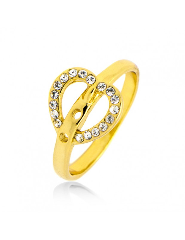 Heart ring with crystals gold KARDOULA