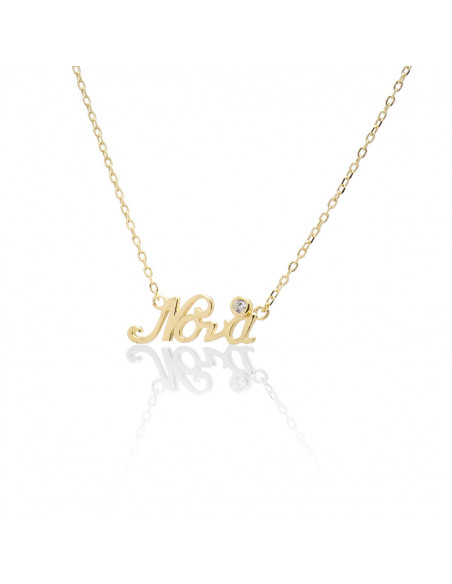 Silver Necklace Godmother with zirconia stone gold plated ALSI