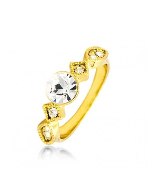 Ring with crystals gold MAMBI
