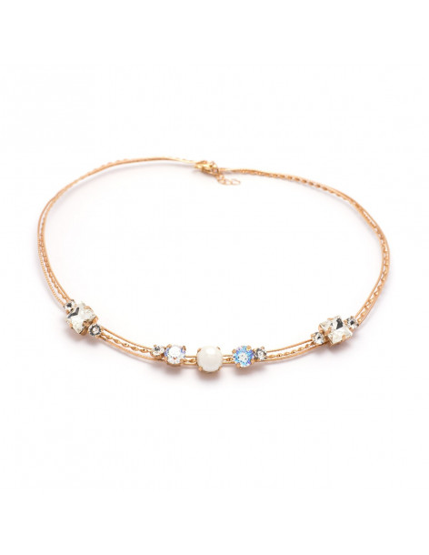Collar Necklace with pearls & Swarovski® Elements in rose gold IBI