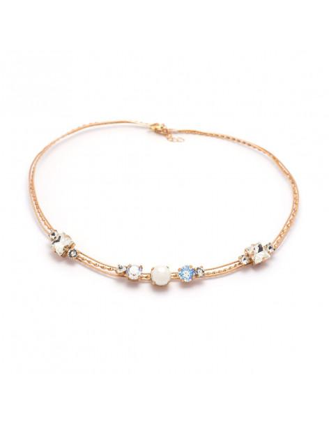 Kragenkette mit Perlen & Swarovski® Elements in rosegold IBI
