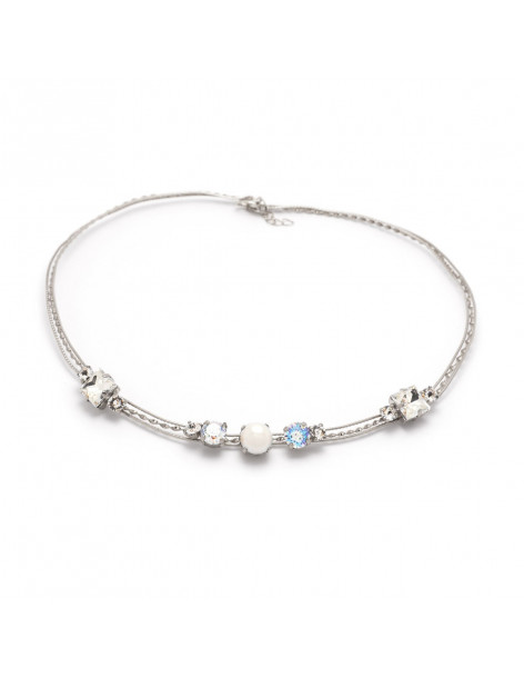 Collar Necklace with pearls and Swarovski® Elements stones silver IBI