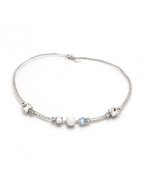 Kragen Halskette mit Perlen und Swarovski® Elements Steinen silber IBI