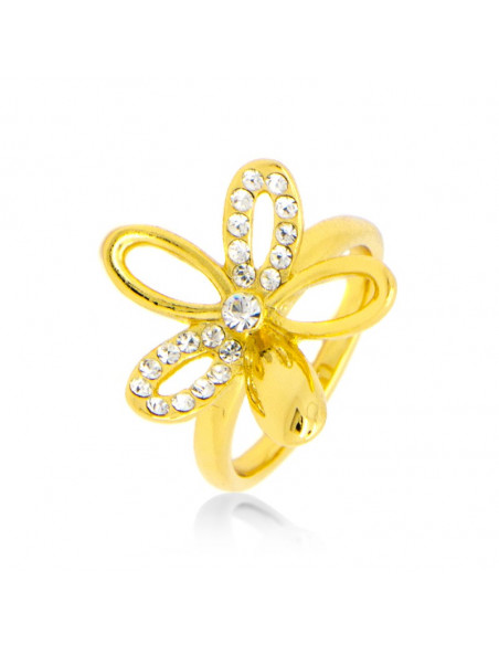 Ring with crystals gold plated NEIS