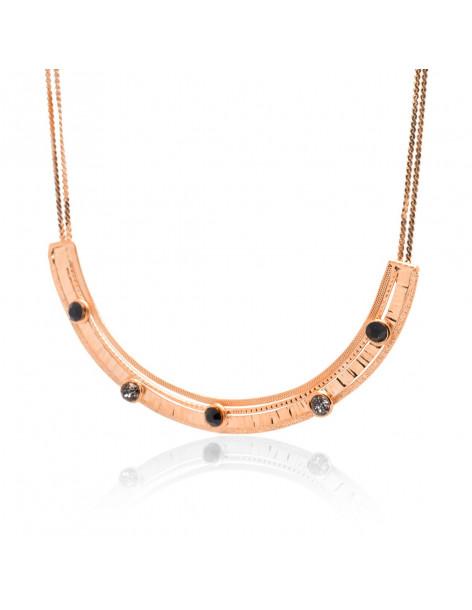 Kragen Halskette mit Swarovski® Steinen rosévergoldet UMO