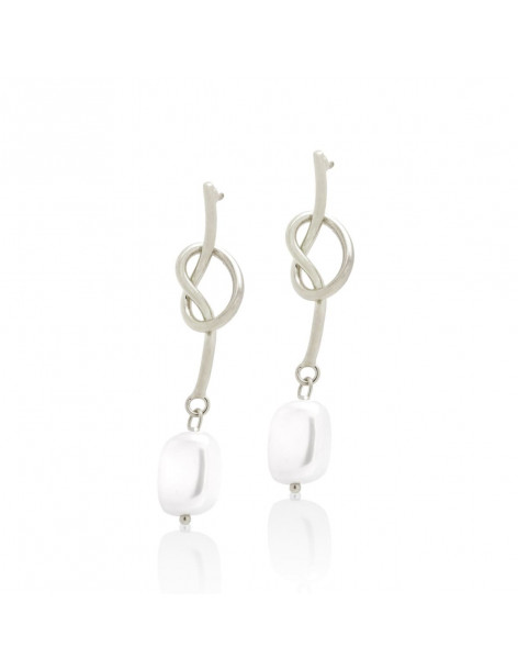 Long earrings from silver plated bronze with pearl HOPI