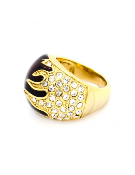 Statement ring with cubic zirconia black gold plated PASSION