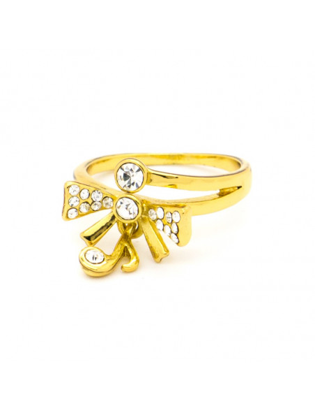 Ring with crystals gold plated NOTOS