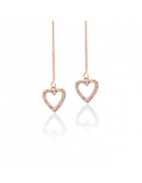 Σκουλαρίκια κρεμαστά από ασήμι ροζ χρυσό ΚΑΡΔΙΑ