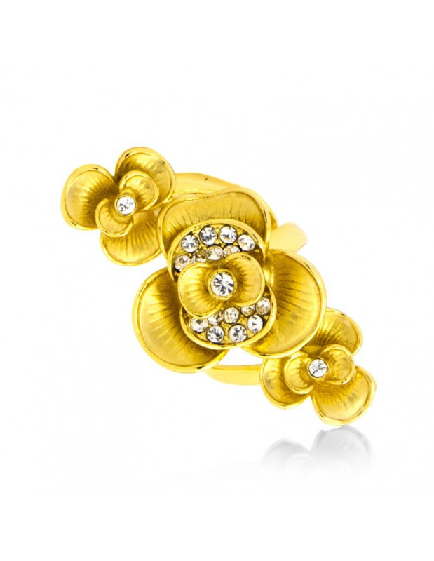 Statement Ring mit Zirkonia Steinen gold ACHELOIDES