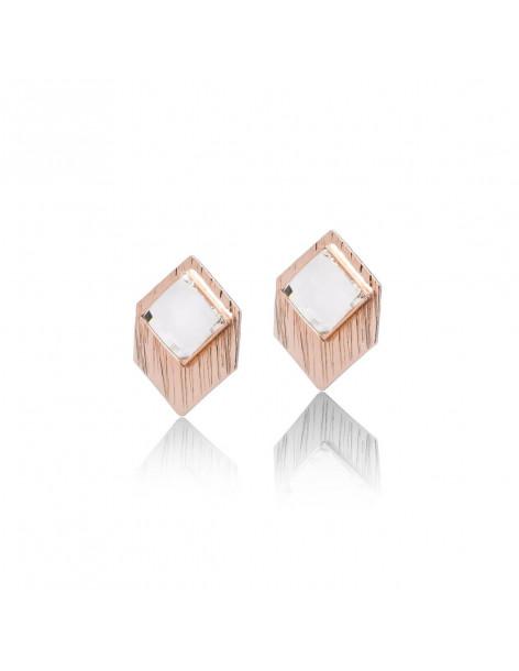 Σκουλαρίκια καρφωτά με Swarovski ζιργκόν ροζ χρυσό TRAP