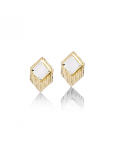 Σκουλαρίκια καρφωτά με Swarovski® Elements ζιργκόν χρυσό TRAP