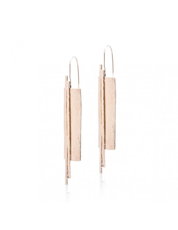 Long earrings from rose gold plated bronze LILIA