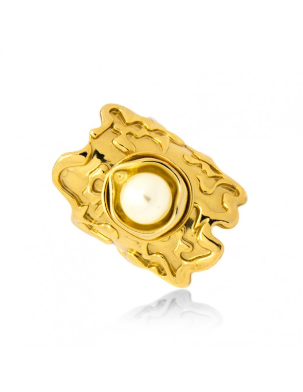 Ring with pearl handmade gold plated VATOS