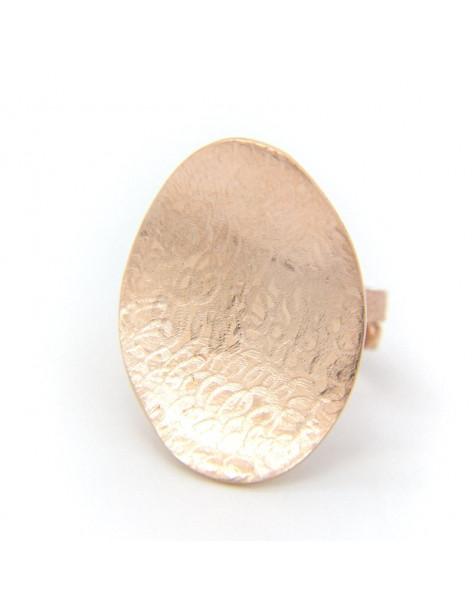 Μεγάλο δαχτυλίδι από ροζ επίχρυσο ασήμι 925 NIA