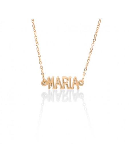 Κολιέ με όνομα Μaria ροζ χρυσό