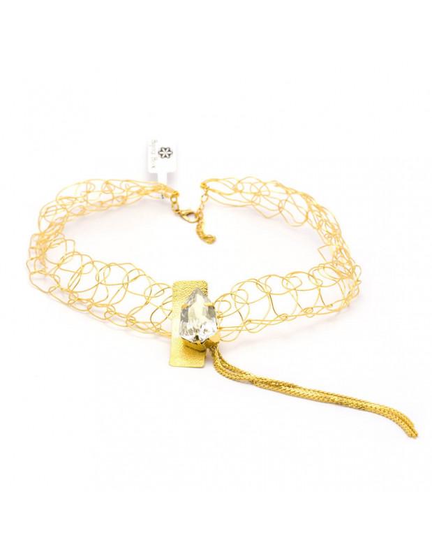 Kragen Halskette aus Bronze mit Swarovski® Elements gold MINE
