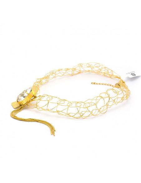 Kragen Halskette aus Bronze mit Swarovski® Elements gold MINE 4
