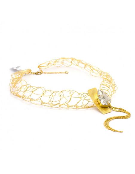 Kragen Halskette aus Bronze mit Swarovski® Elements gold MINE 5