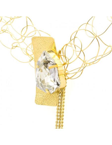 Kragen Halskette aus Bronze mit Swarovski® Elements gold MINE 3