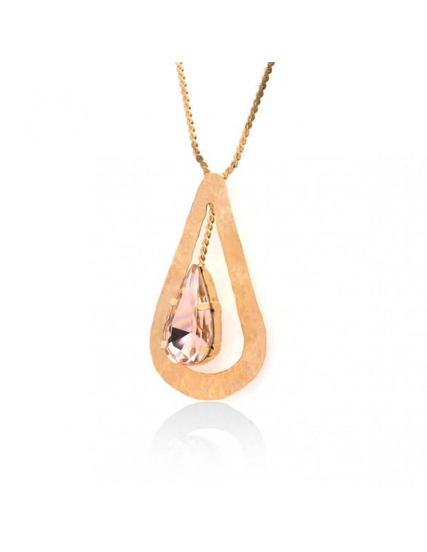 Halskette mit rosé vergoldetem Bronze Anhänger und Swarovski® Elements HEW