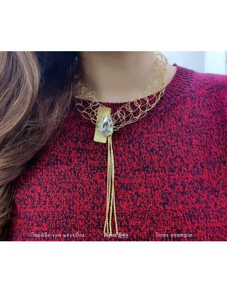 Kragen Halskette aus Bronze mit Swarovski® Elements gold MINE 8