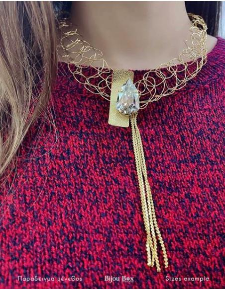 Kragen Halskette aus vergoldeter Bronze mit Swarovski® Elements MINE 8