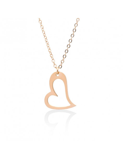 Heart Necklace of rose gold plated stainless steel HEIJ