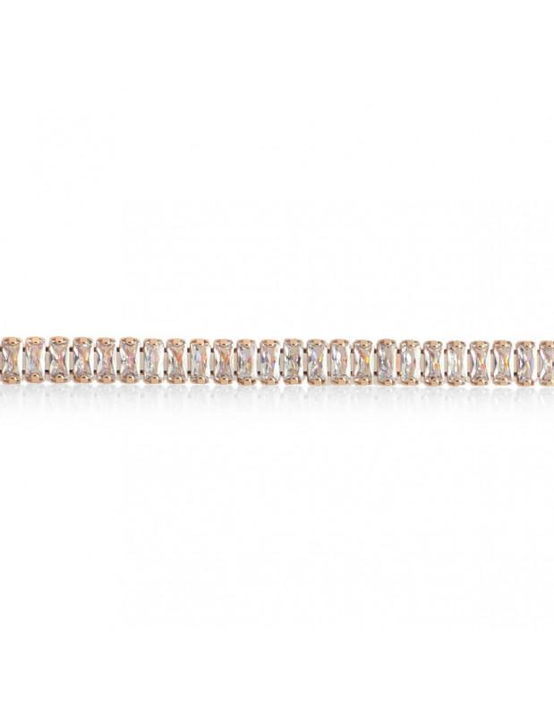 Rhinestone Bracelet from rose gold stainless steel SOPHIA