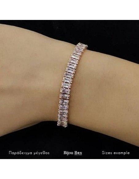 Rhinestone Bracelet from rose gold stainless steel SOPHIA 2