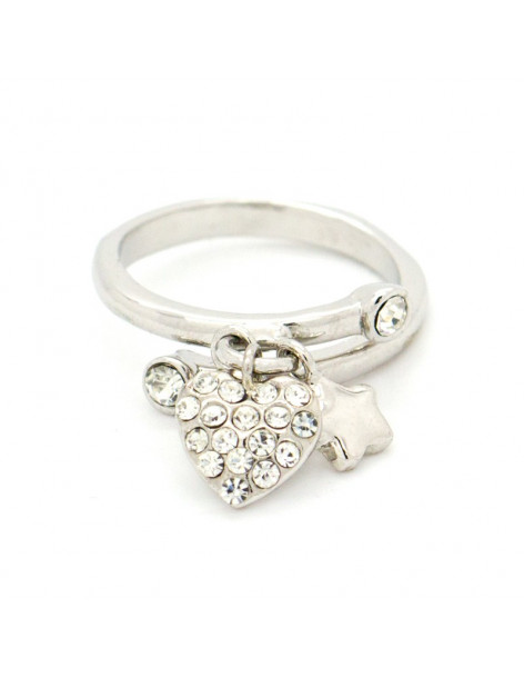 """CHARM RING WHITE GOLD PLATED """"LYIA"""""""