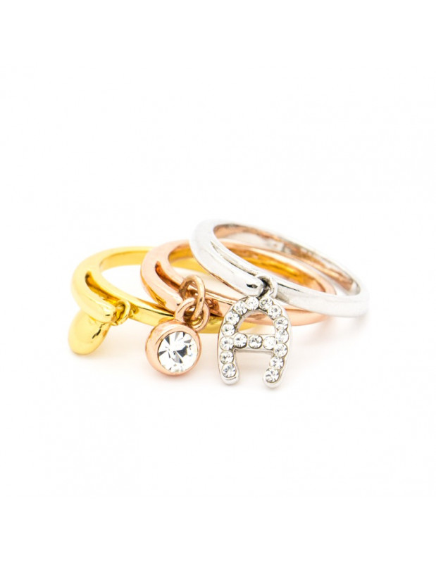 Ring 4 teilig mit Anhängern gold rosegold silber LOTS