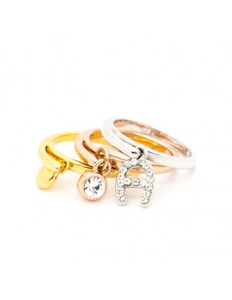Δαχτυλίδι 4 κομμάτια με κρεμαστά ροζ χρυσό ασημί LOTS