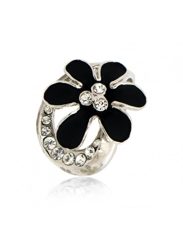 Δαχτυλίδι μαύρο λουλούδι ασημί ISIO