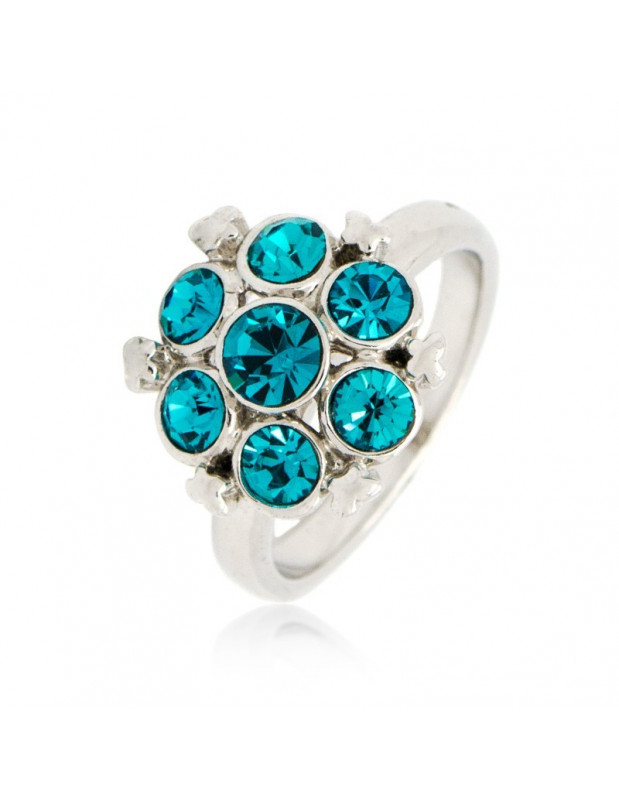 Ring with crystals turquoise silver SIA