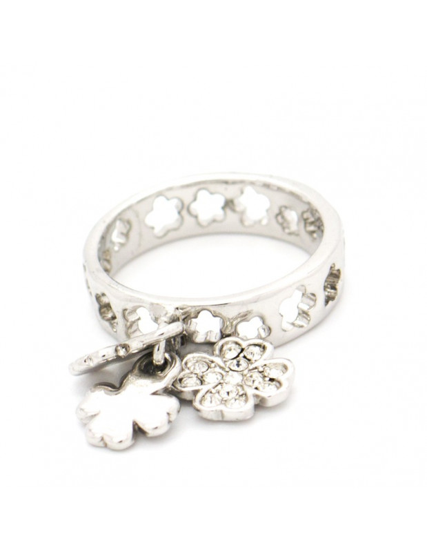 """CHARM RING WHITE GOLD PLATED """"MIRA"""""""