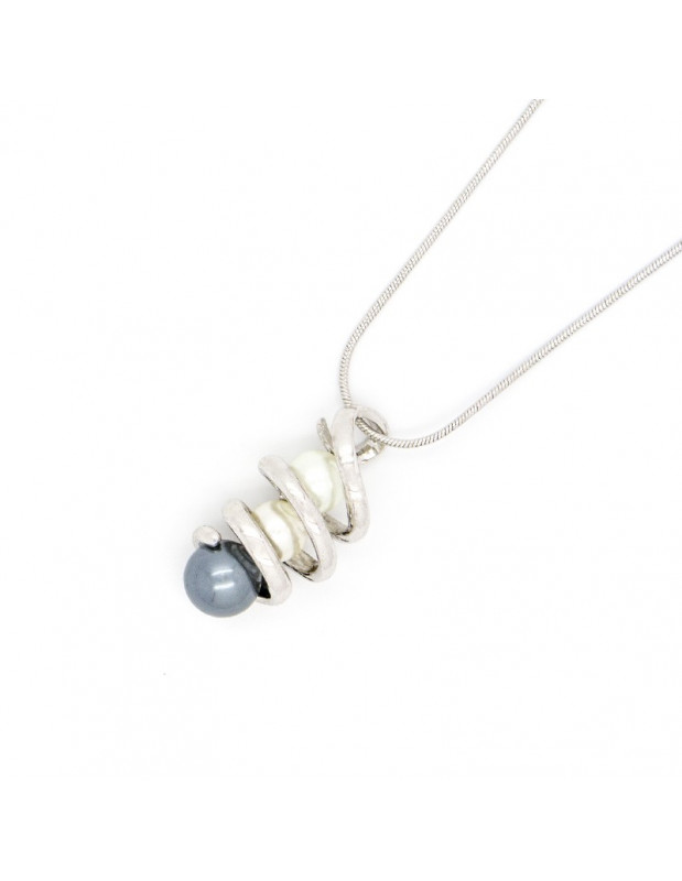 Necklace with pearls silver GINEA
