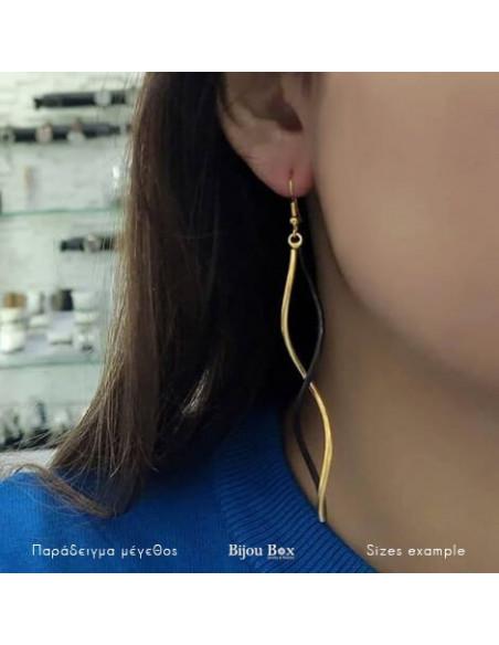 Μακριά σκουλαρίκια από μπρούτζο επιχρυσωμένο SWING χρυσό μαύρο 2