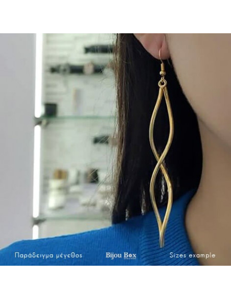 Long earrings from bronze gold plated SWING 2