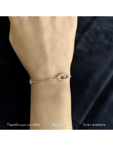Nazar bracelet with cross from rose gold plated silver 925 OPLO 2