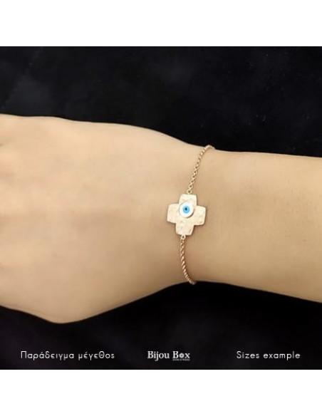 Bracelet Nazar Cross of rose gold plated sterling silver FLORENZ 2