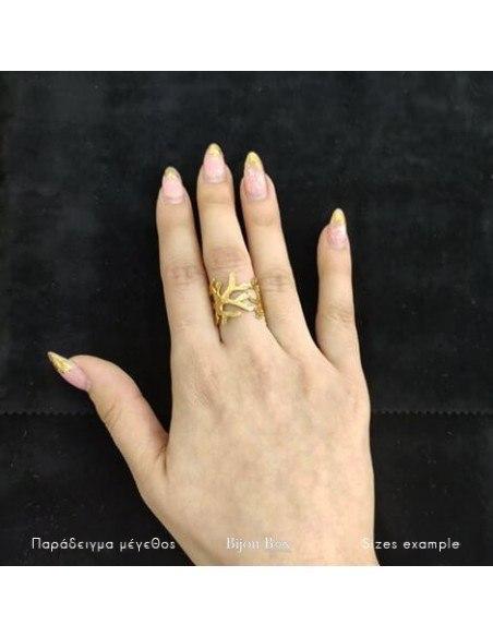 Δαχτυλίδι αρχαιοελληνικό από επίχρυσο μπρούτζο LUPIA 2