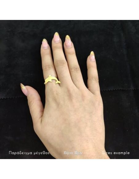 Δαχτυλίδι μπρούτζο επίχρυσο DOLPHIN 2