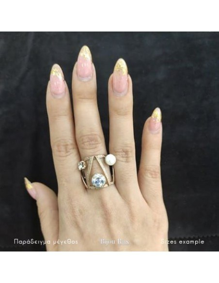 Ring with rhinestones & pearl rose gold VERIA 2