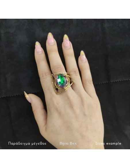 Statement ring with big colored rhinestone gold HYPE 2