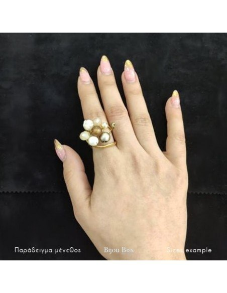 Ring with rhinestones & pearls gold HOLA 2