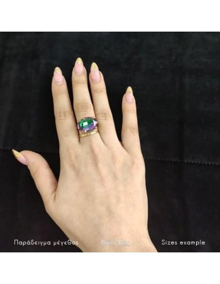 Μεγάλο δαχτυλίδι με ζιργκόν χρυσό AUF 2